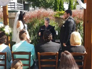 bride and groom with officiant and wedding guests
