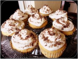 Tiramisu Cupcakes on glass plate