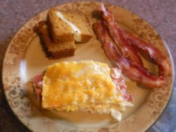breakfast with bacon and bread