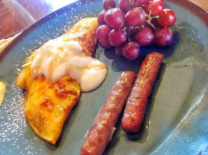 apple omelet with sausages and grapes