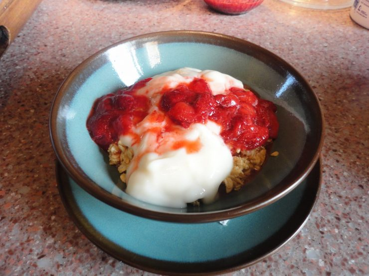 breakfast of oatmeal with strawberries