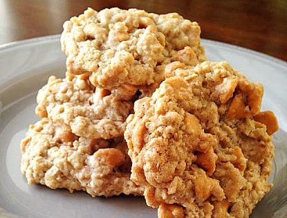 oatmeal butterscotch cookies on white plate