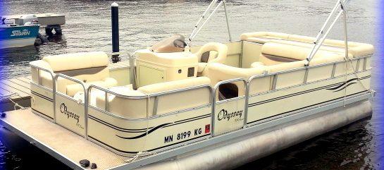 white pontoon boat on water