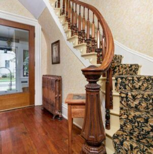 winding carpeted staircase