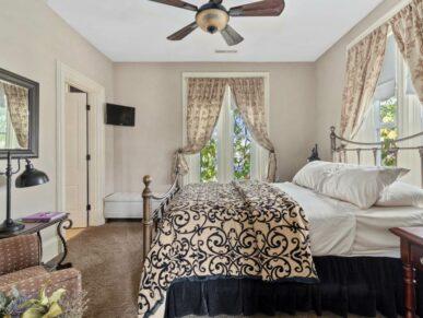 Brayton Suite bed trimmed in blue