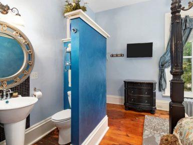 Bathroom area in room behind blue wall