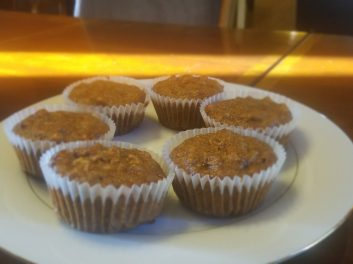 Gluten Free, refined sugar free, dairy free (except egg) Pecan Pie Muffin