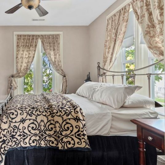 Brayton Suite with bed trimmed in blue